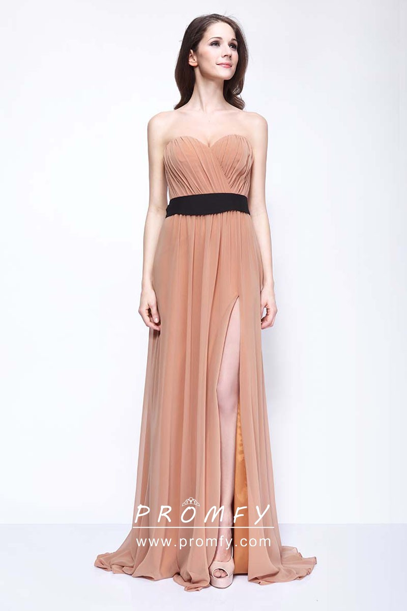 multiple colors good texture 100% genuine Nude Chiffon Sexy High-Slit Wedding Guest Dress