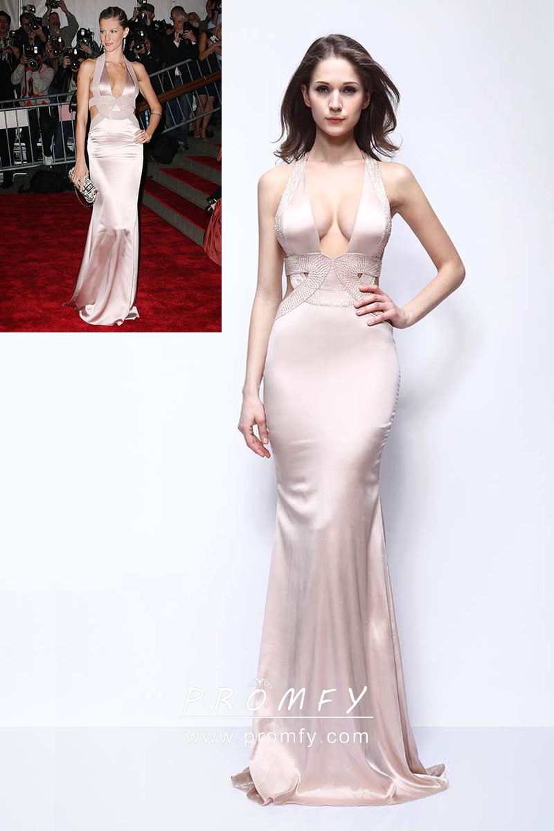 14b94cd2e00d7 Gisele Bndchen sexy cut out open back nude satin celebrity mermaid long prom  dress