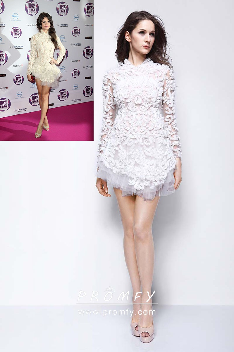 1f46444049ae Selena Gomez unique white 3D lace long sleeve celebrity short cocktail dress