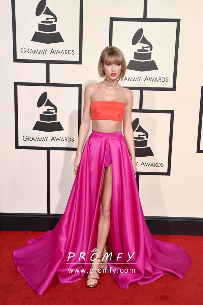 015f2a8a2f637 Taylor Swift Orange and Fuchsia Two-piece Celeb Prom Dress with High ...