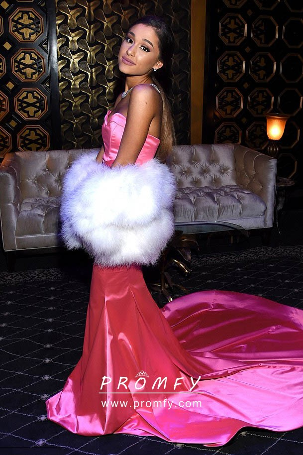 Ariana Grande Hot Pink Satin Strapless Mermaid Prom Gown