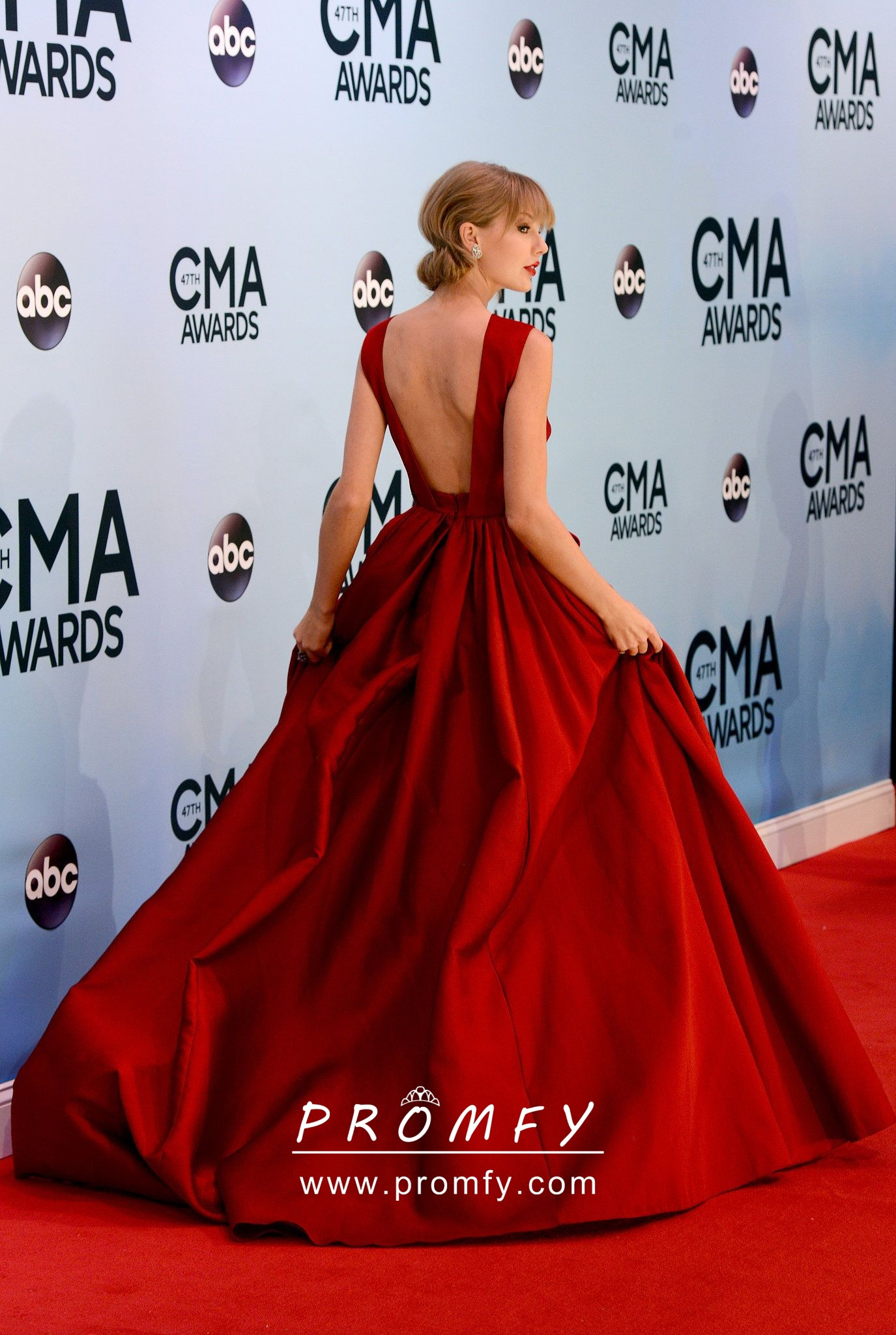 Taylor Swift Beaded Red Lace Appliqued Celebrity Ball Gown