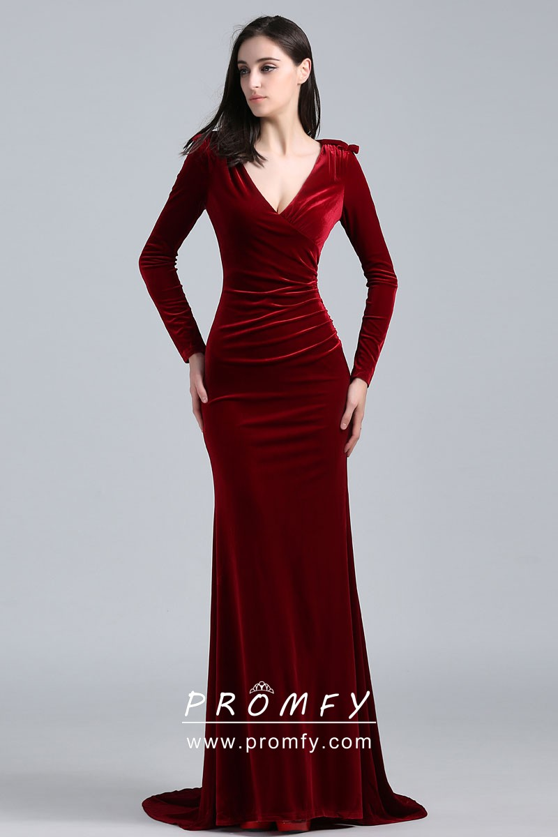 Elegant burgundy velvet long sleeve mermaid long celebrity prom dress jpg  800x1200 Burgundy velvet gown c4fbabdf9efb