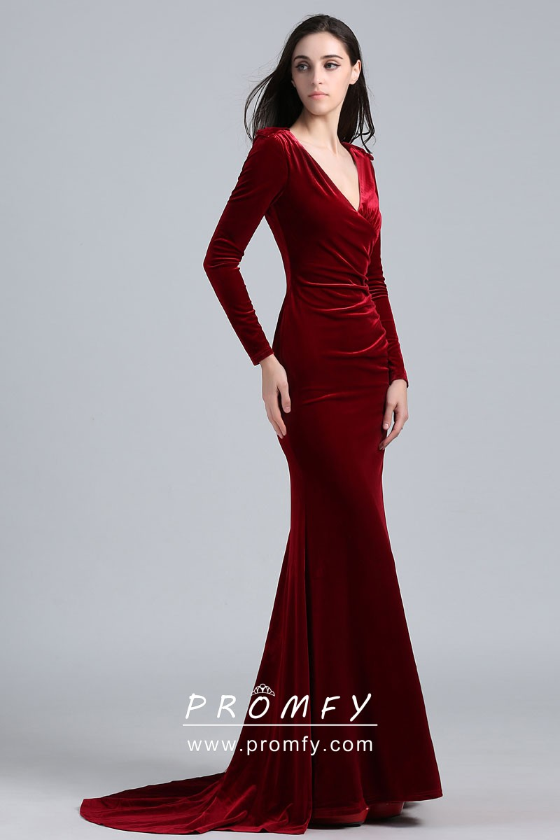 4c7220167a95 Elegant Burgundy Velvet Long Sleeve Mermaid Long Celebrity Prom ...