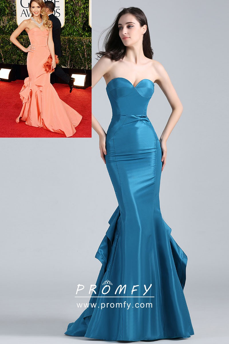 Unique Draped Ocean Blue Strapless Mermaid Gown
