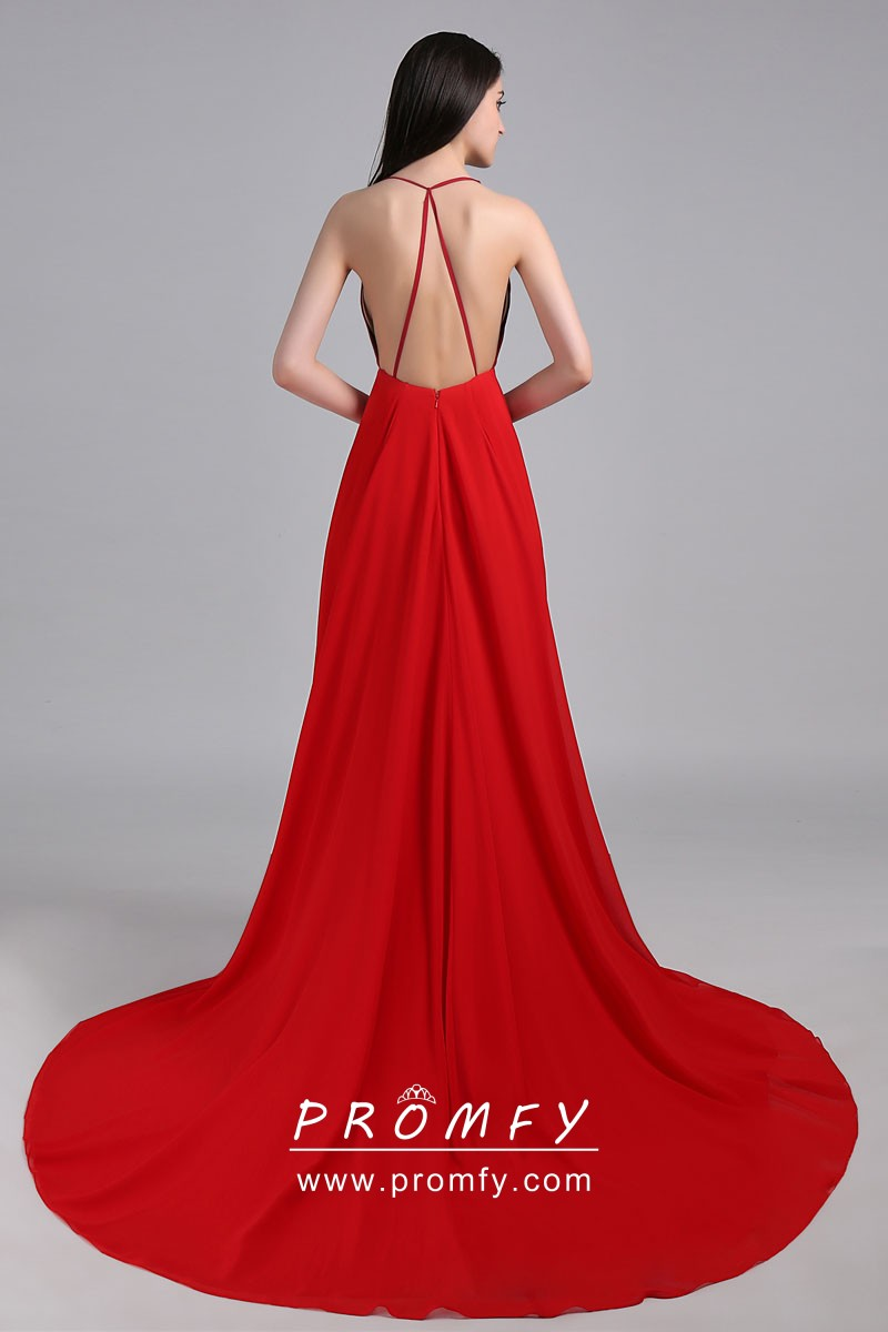 Two Shades of Red Open Back Plunging Neckline