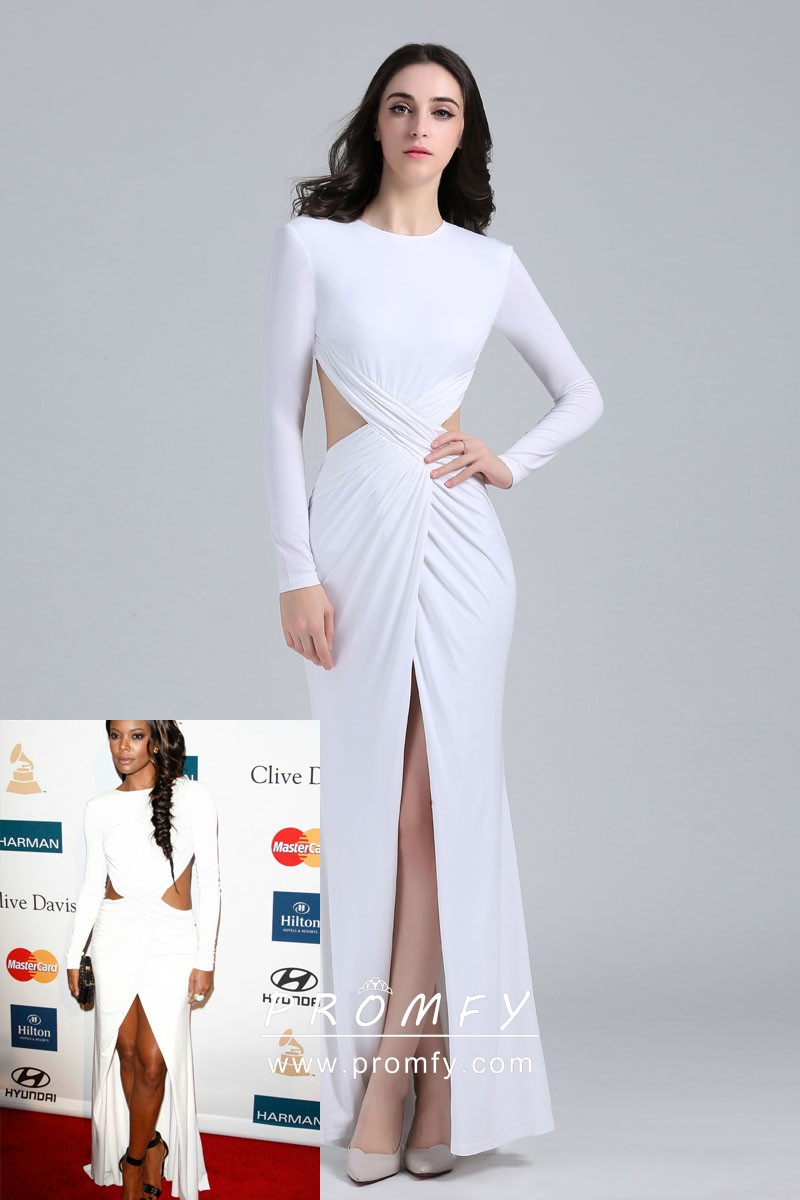 46f9536ab7b Gabrielle Union sexy white jersey criss cross draped open back long sleeve  celebrity prom dress