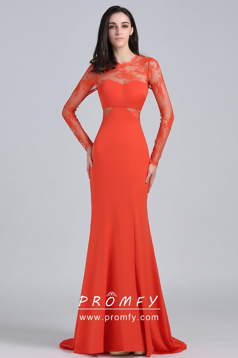 Neckline Long Sleeve Orange Red Dress