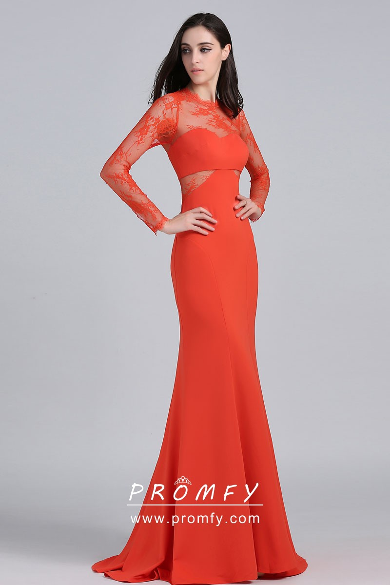 035887485974 see through neckline long sleeve orange red lace and chiffon dress