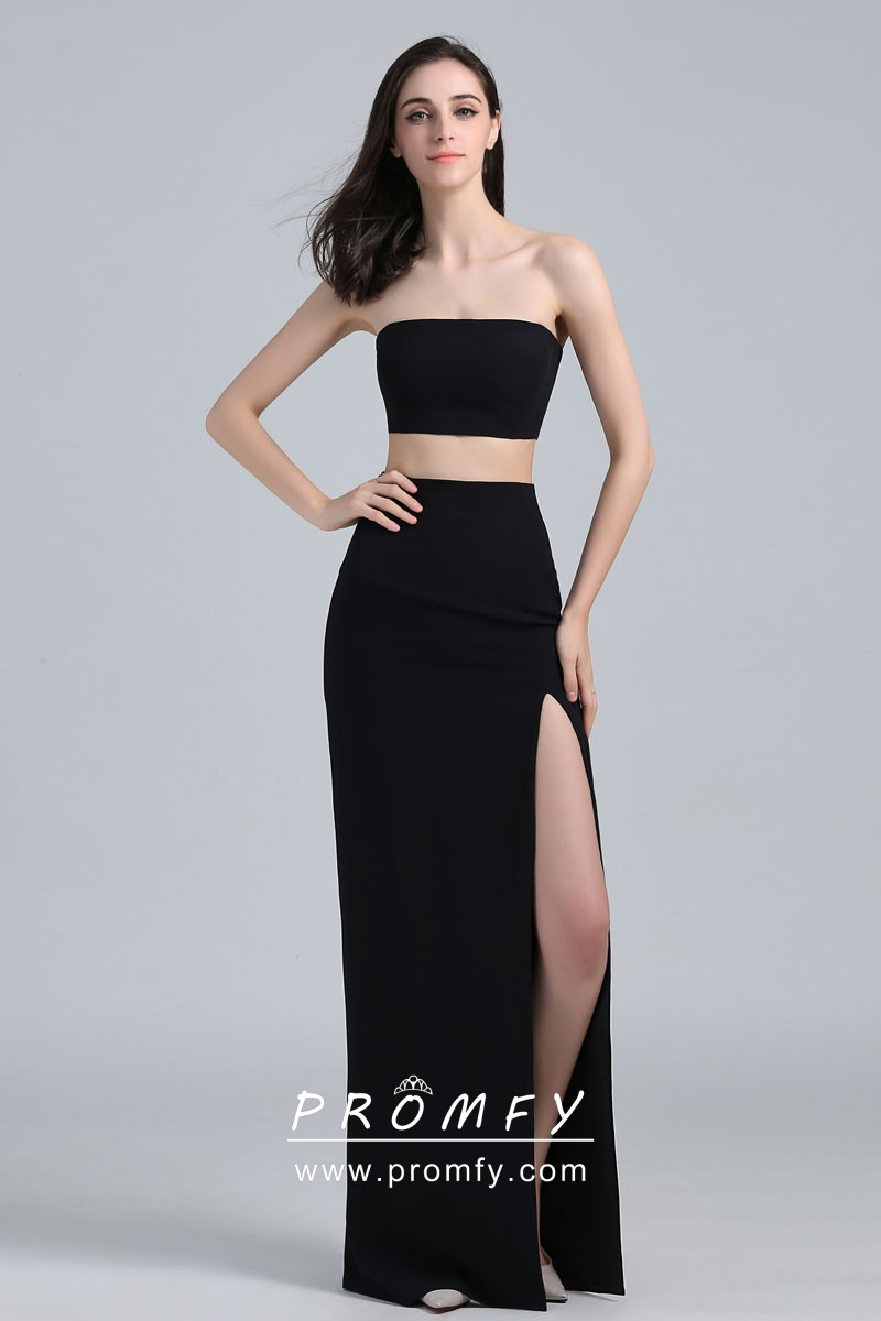 Strapless Two Piece Thigh High Slit Celebrity Inspired