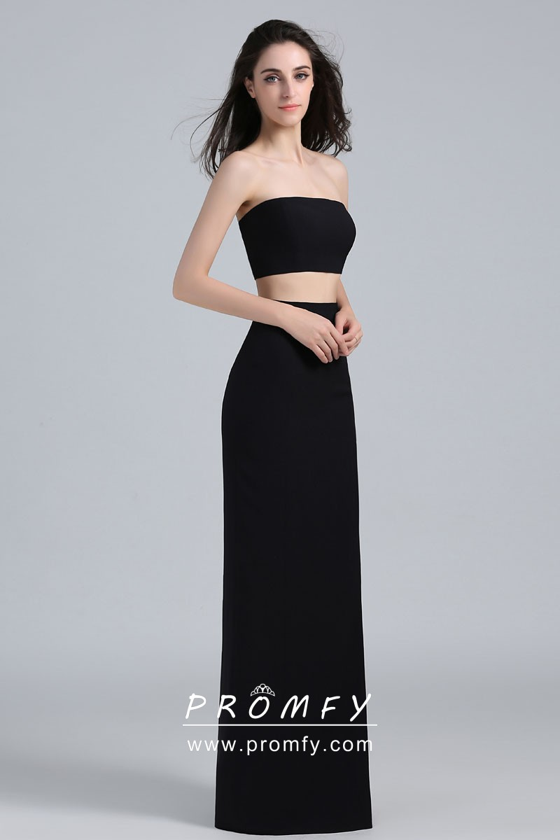 e6d3613eb332 Strapless Two-piece Thigh-high Slit Celebrity Inspired Black Prom ...