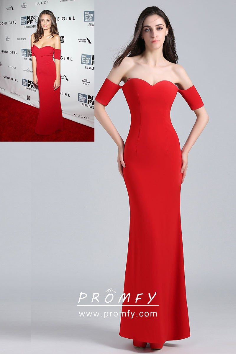 b6000f8115 Emily Ratajkowski red sweetheart mermaid long celebrity formal gown with  short sleeves