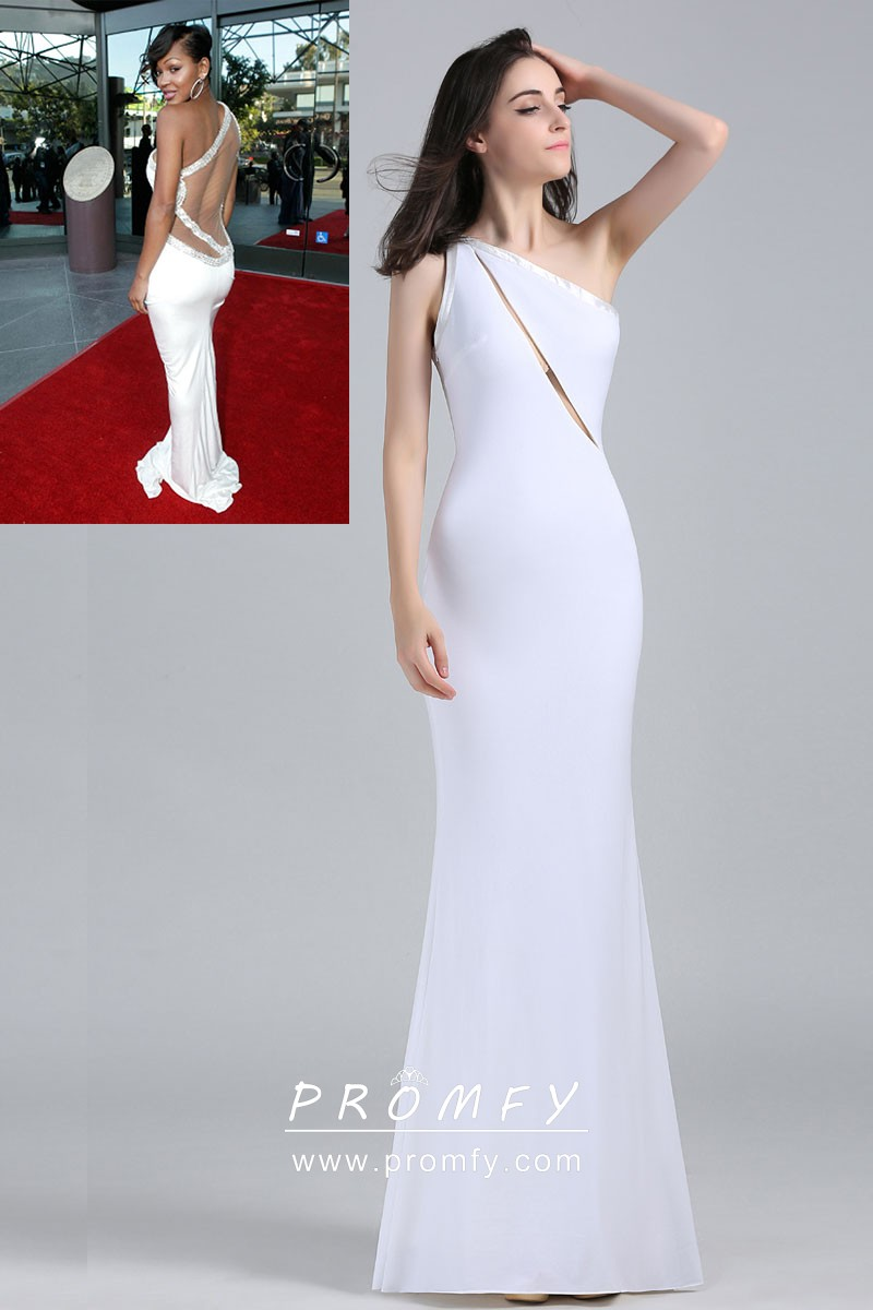 7c3968d481 Meagan Good asymmetrical split one shoulder white open back long celebrity  prom dress