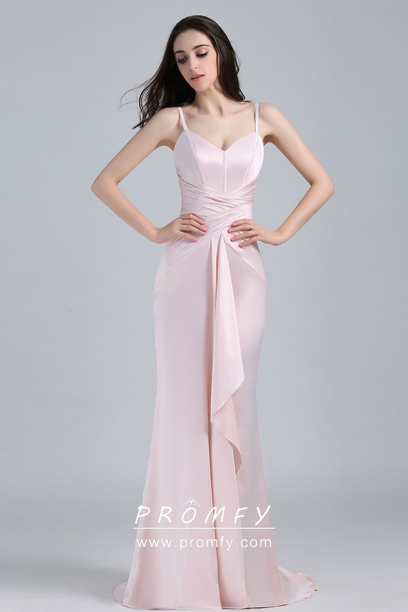 f395eb4d689 pale pink satin criss cross draped V neck fit and flare celebrity prom dress