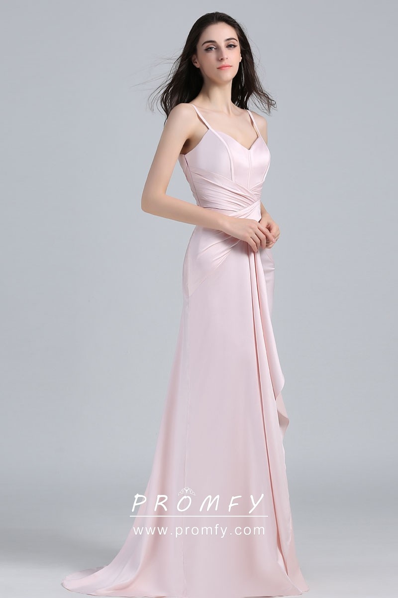 a9f46bde483 Pale Pink Satin Criss-cross Draped V-neck Fit-and-flare Celebrity ...