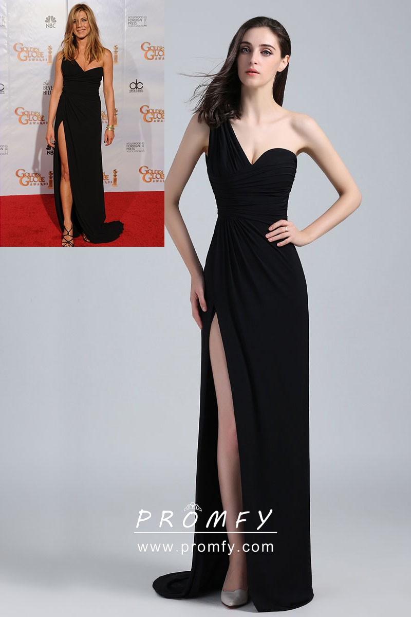 0bf39955c1 Jennifer Aniston black jersey chic one shoulder thigh high slit celebrity  long prom dress