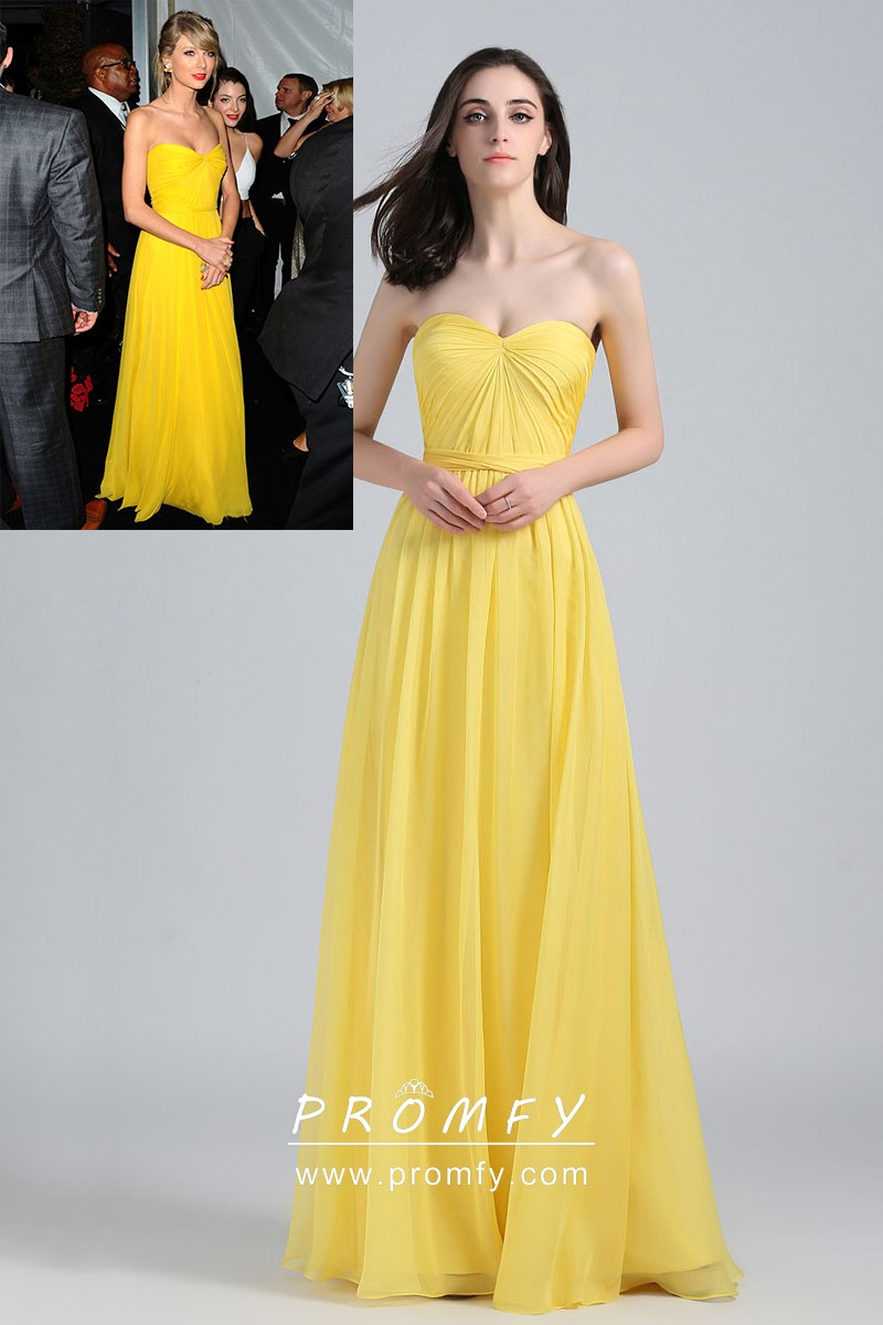 78ae6d995e4 Taylor Swift strapless sweetheart yellow chiffon A line long celebrity prom  dress