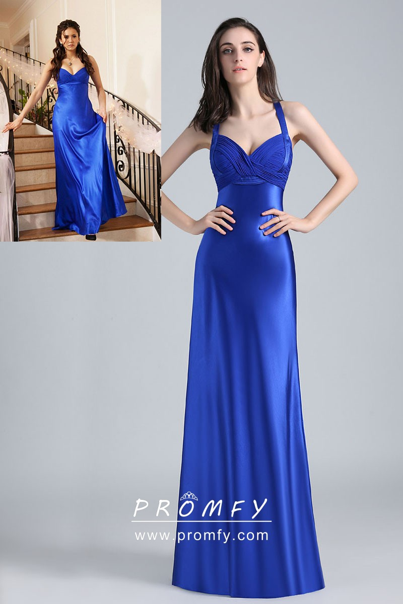 daa6b770d1 Royal Blue Shiny Satin Fit and Flare Celebrity Long Prom Dress