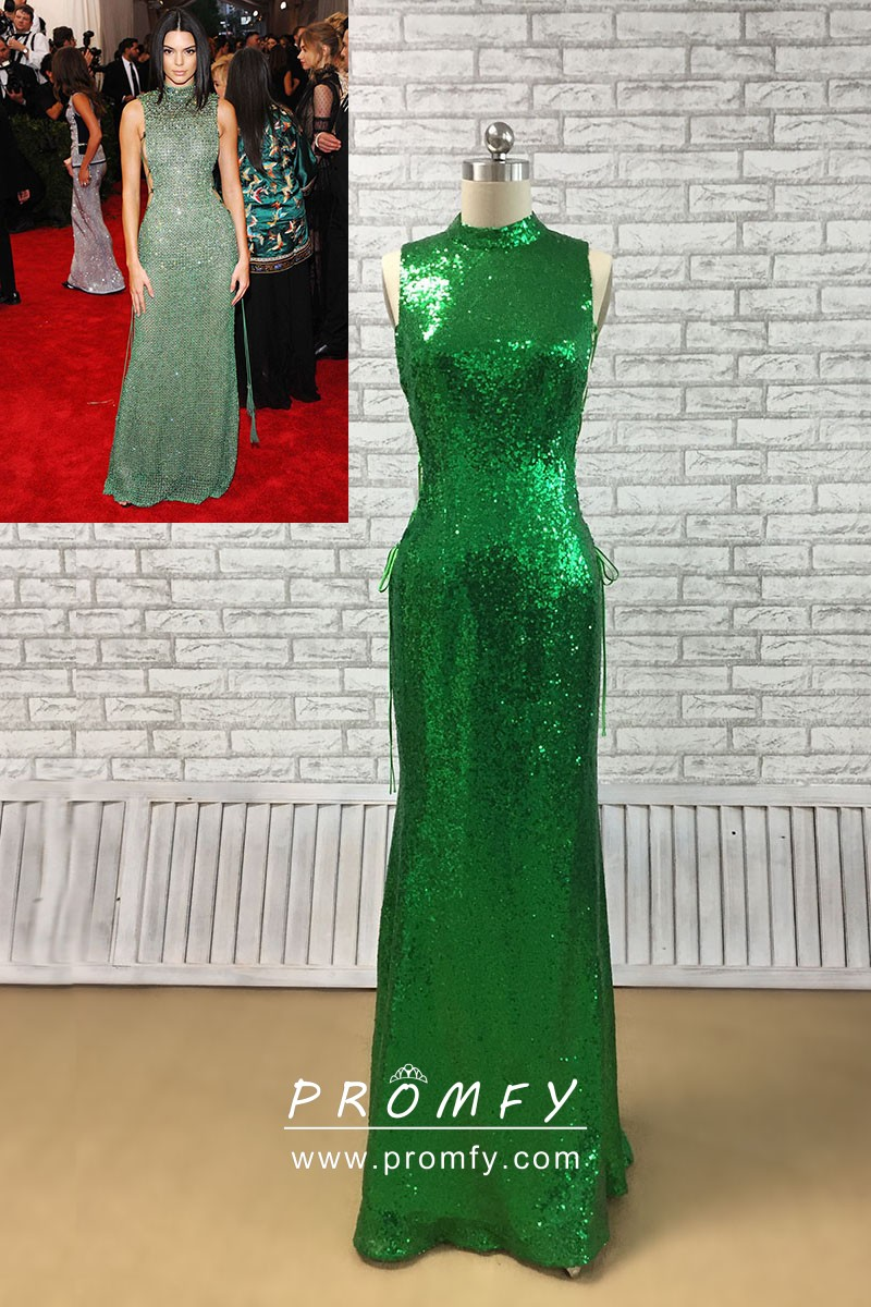cd84223c Kendall Jenner sparkly green sequin high neckline fit and flare celebrity  long prom dress