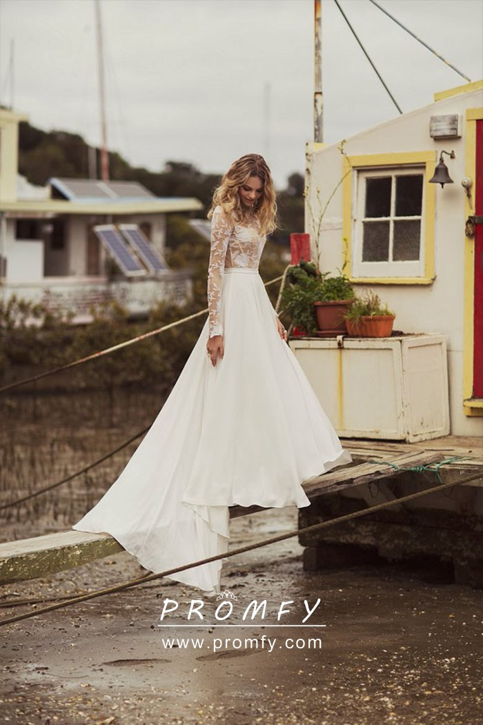 Ivory Lace And Chiffon Long Country Wedding Dress