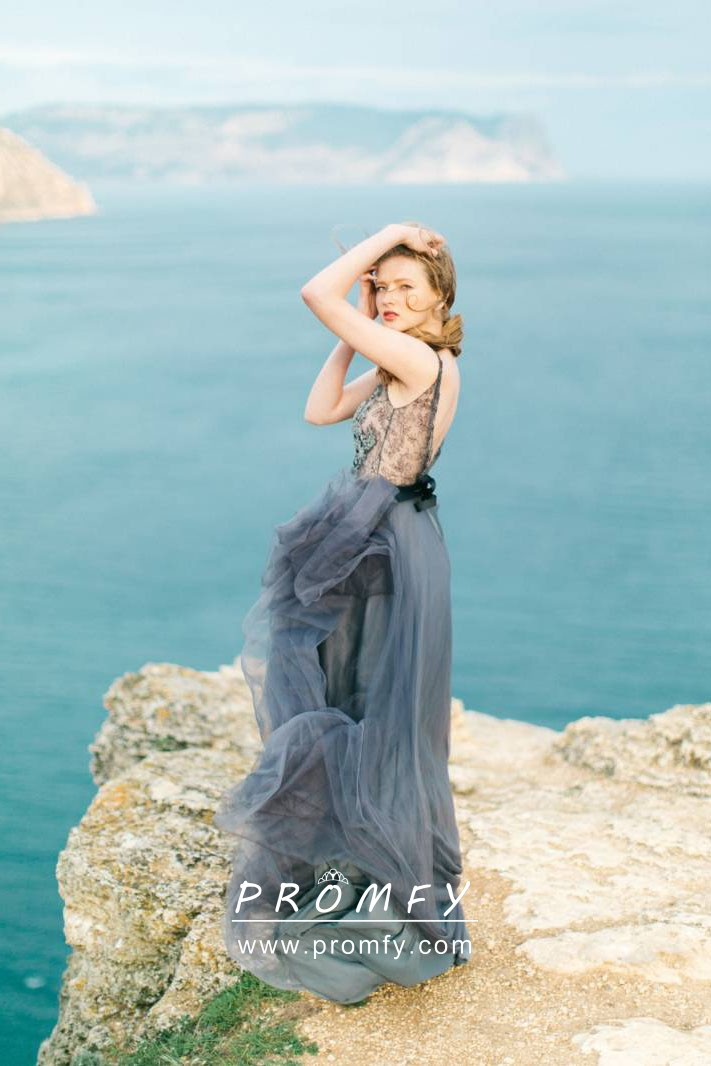 Indigo Blue Lace And Tulle Long Engagement Dress