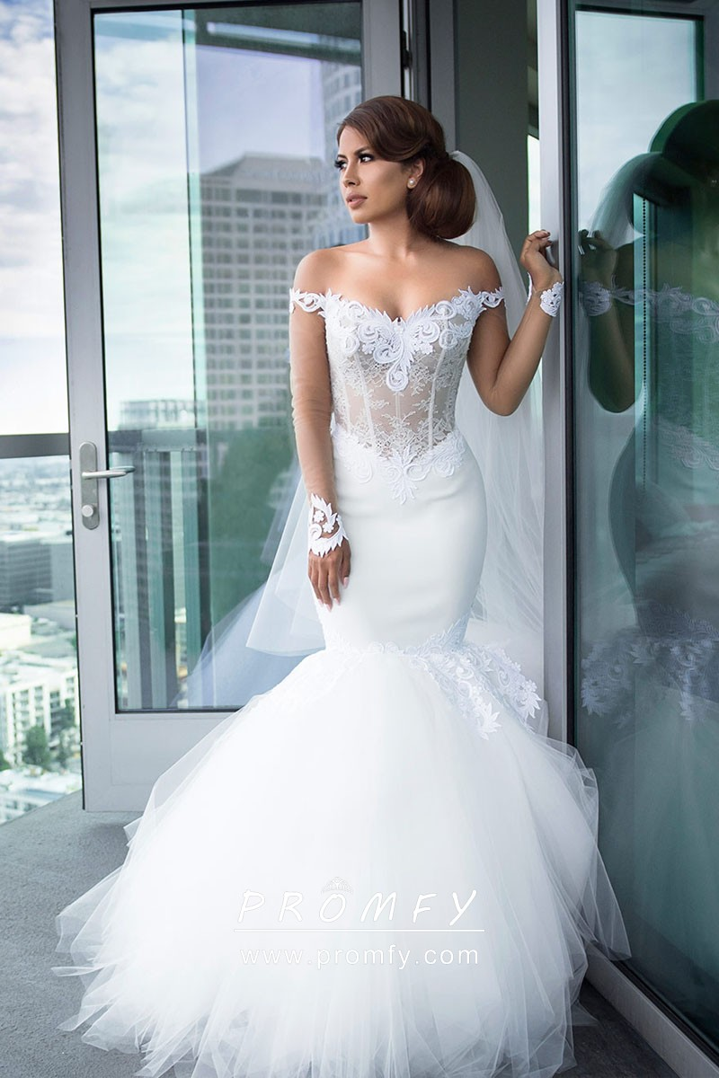 0933aa42681f4 Modern Illusion Off-the-shoulder Long Sleeve Lace and Tulle Trumpet Wedding  Gown