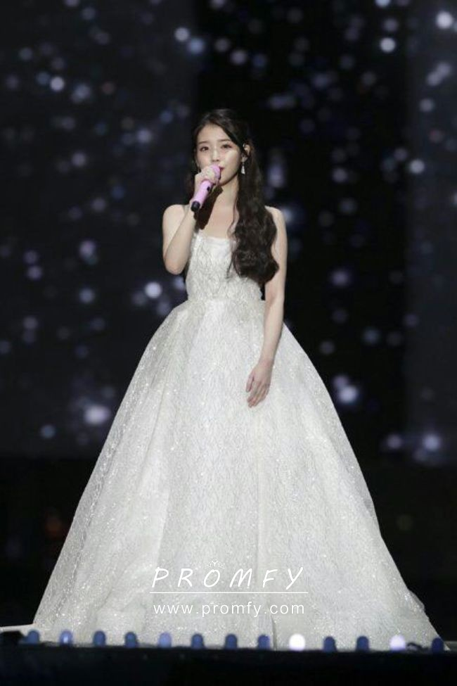 3746816c82 IU Sparkly Sequinned Celebrity Ivory Ball Gown Wedding Dress ...