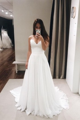 b1c5f1c205 Strapless sweetheart simple white chiffon A line floor length wedding dress