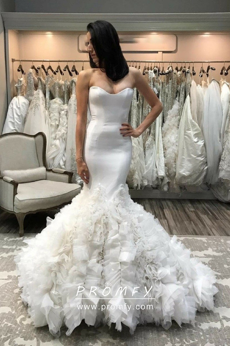 Uniquely Ruffled Trumpet Ivory Satin Wedding Gown Promfy