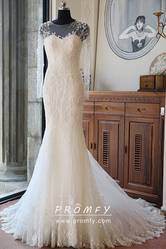 Luxury Beaded Long Sleeve Ivory Long Wedding Gown Promfy,Wedding Guest Fashionable Modern Indian Wedding Dresses For Girls