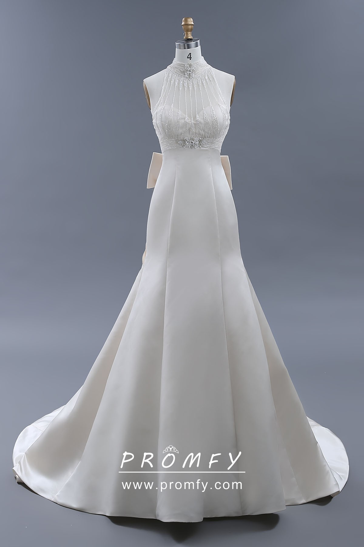 Sheer Beading High Neck Ivory Satin Wedding Gown
