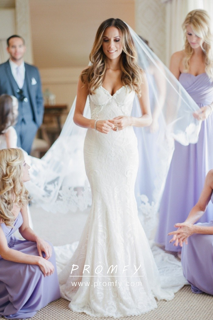 Subtle White Lace Pearls V,neck Open Back Mermaid Modern Wedding Dress