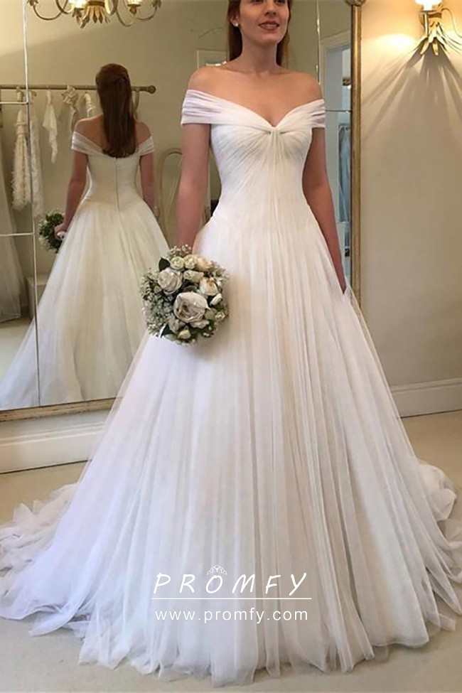 Off The Shoulder Pleated White Wedding Ball Gown Promfy