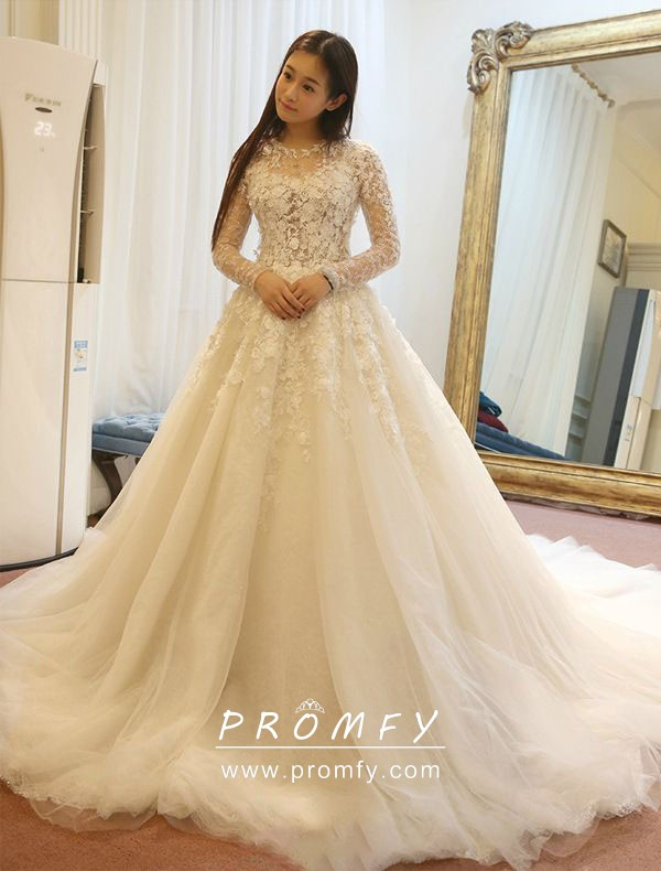 Illusion Ivory Lace Long Sleeve Wedding Ball Gown Promfy