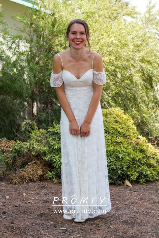 70s Style Ivory Lace Short Sleeve Wedding Dress