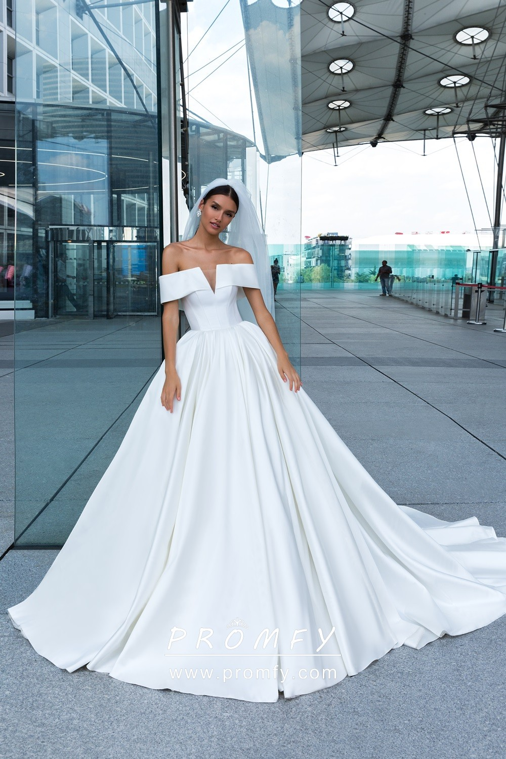 White Satin Off The Shoulder Modern Ballgown Wedding Dress With Cathedral Train