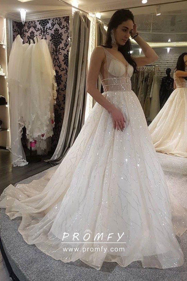 See-through Plunging Neck Wedding Gown