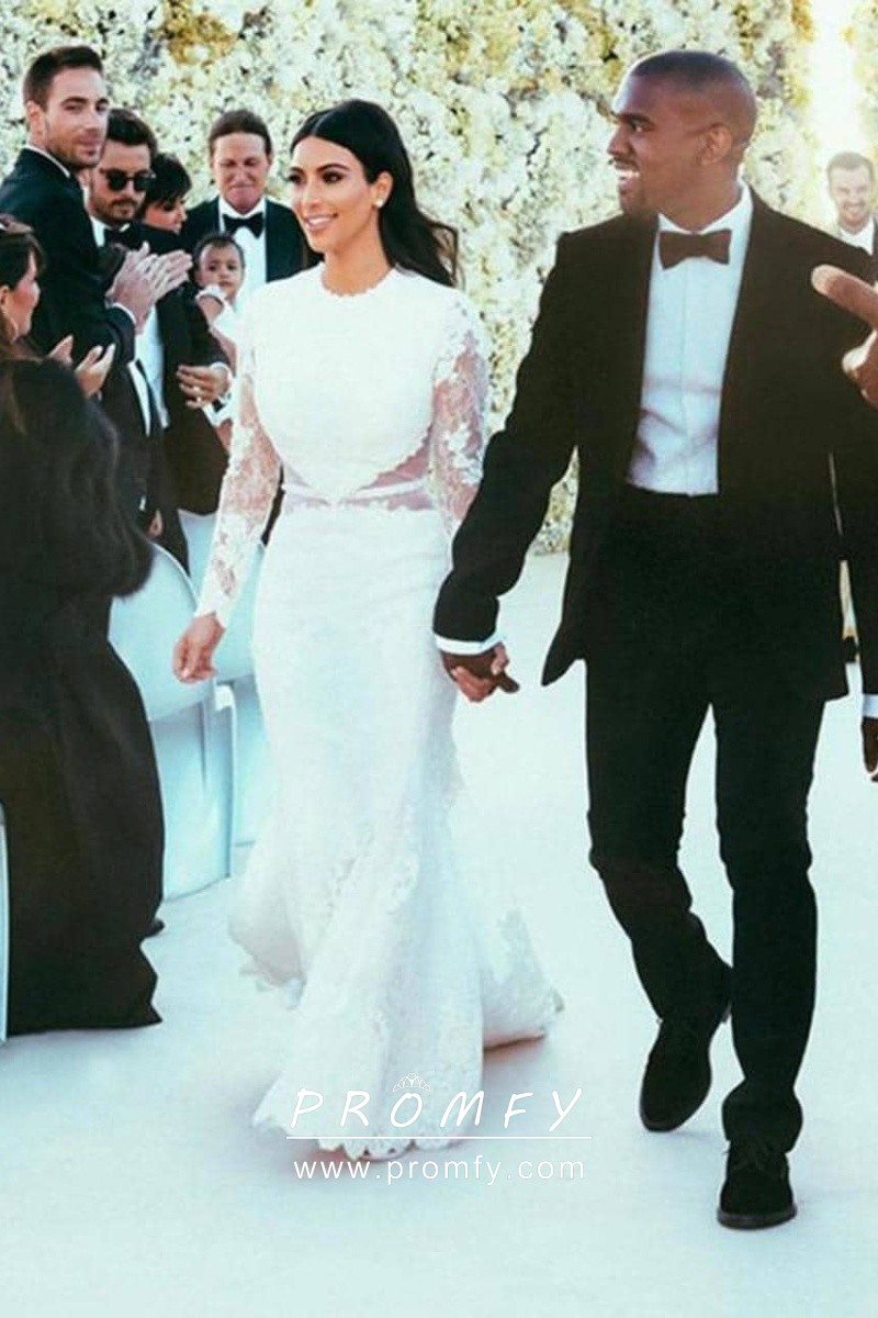 Kim Kardashian Lace Mermaid Celebrity Wedding Dress - Promfy