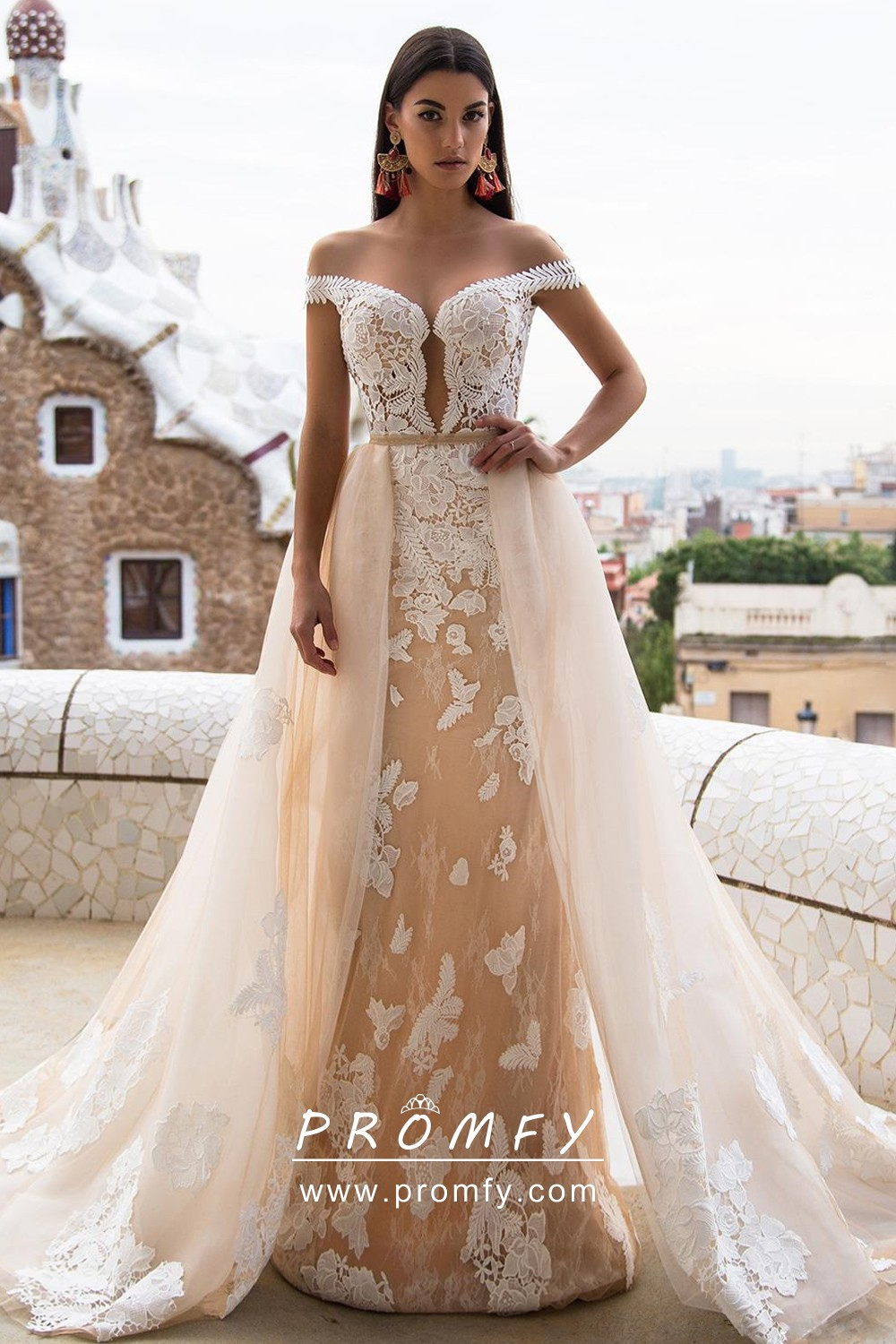 Champagne Tulle & White Lace 20 in 20 Wedding Dress   Promfy
