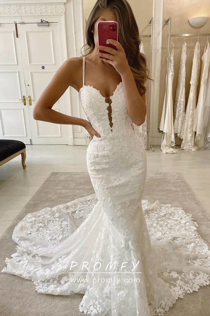 Sexy Plunging Sweetheart Neckline Lace Wedding Gown Promfy