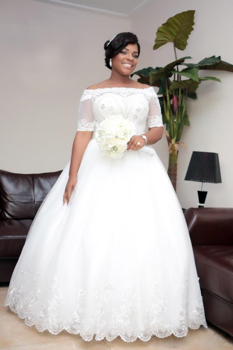Off the shoulder Beaded Plus Size Wedding Gown   Promfy