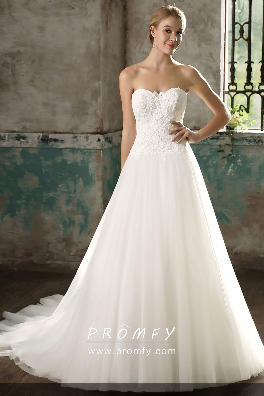 Simple Lace Tulle Strapless A Line Wedding Dress Promfy