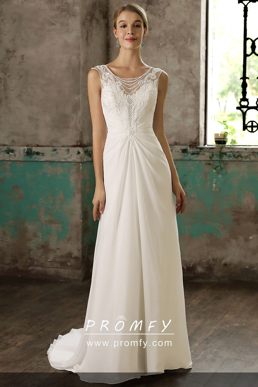 Pearl Embellished Illusion Lace Long Wedding Dress Promfy