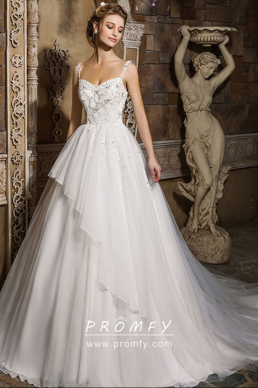 Beaded Lace Satin Organza Ball Gown Wedding Dress Promfy