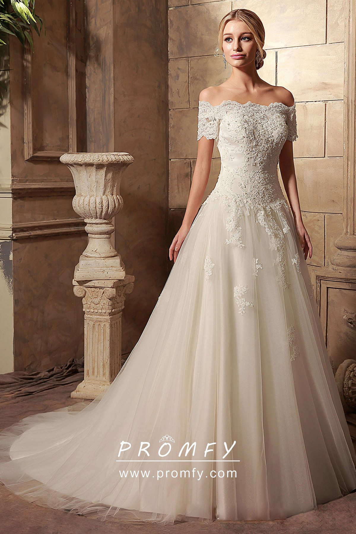 Scalloped Lace Short Sleeve Ball Gown Wedding Dress Promfy