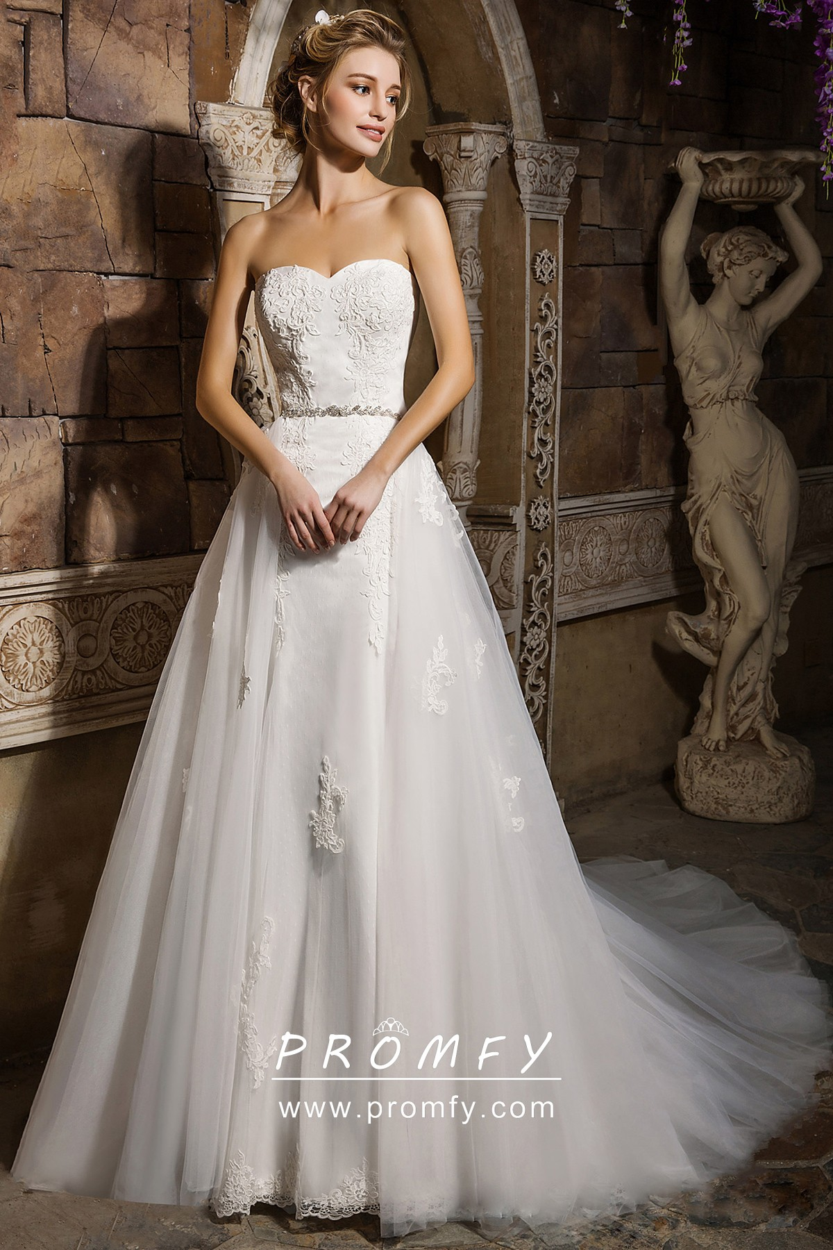 Detachable Overskirt Lace Tulle Satin Wedding Dress Promfy