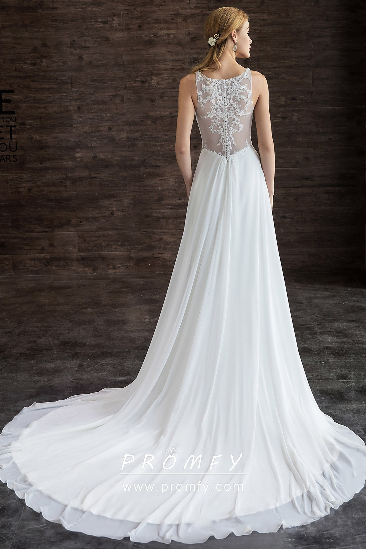 Long Chiffon Wedding Dress With Cathedral Train Promfy
