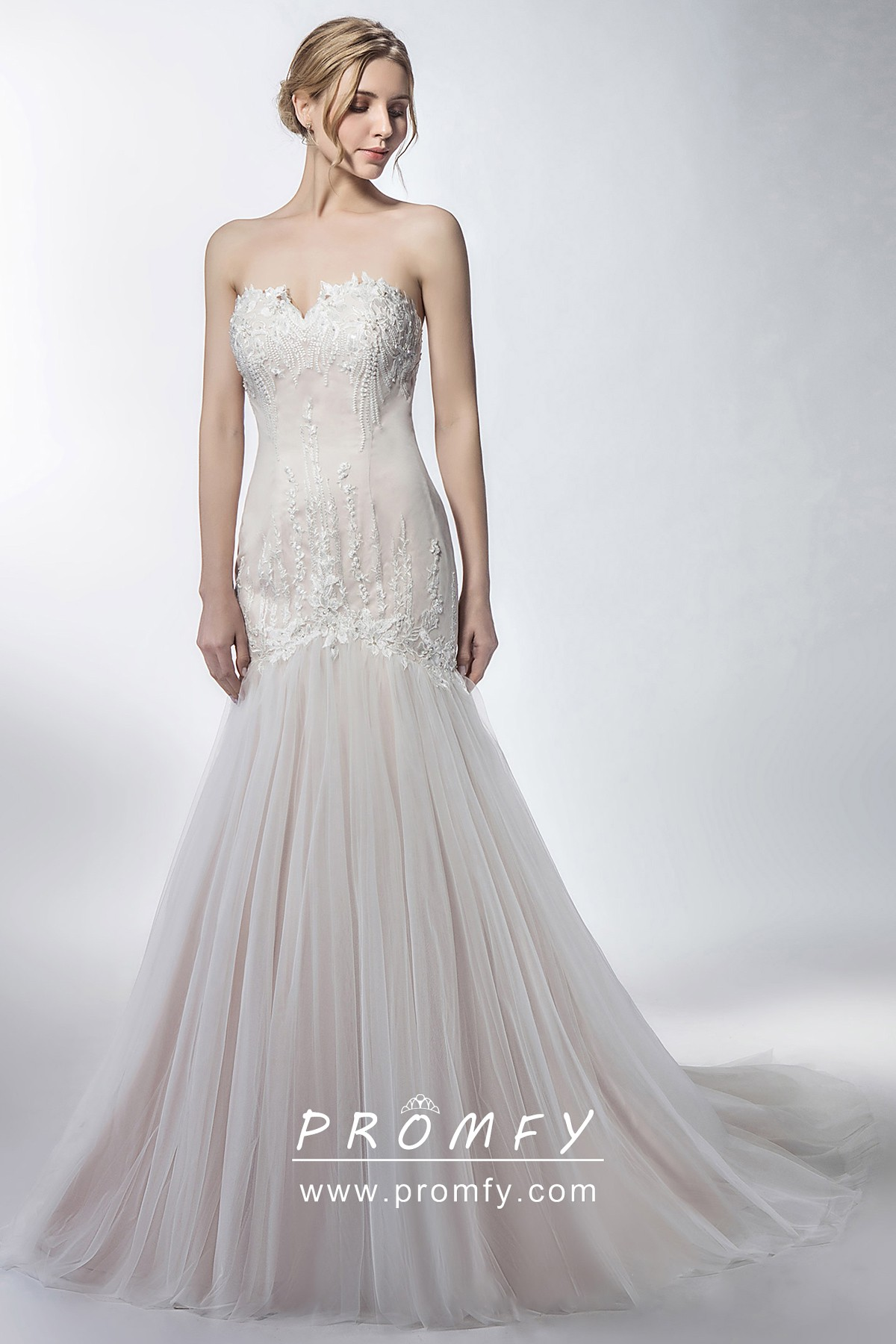 Lace Top Bateau Neck Drop Waist Bridal Gown With Layered Tulle Skirt Online Ucenter Dress Offers Tons Of High Quality Collections At Affordable