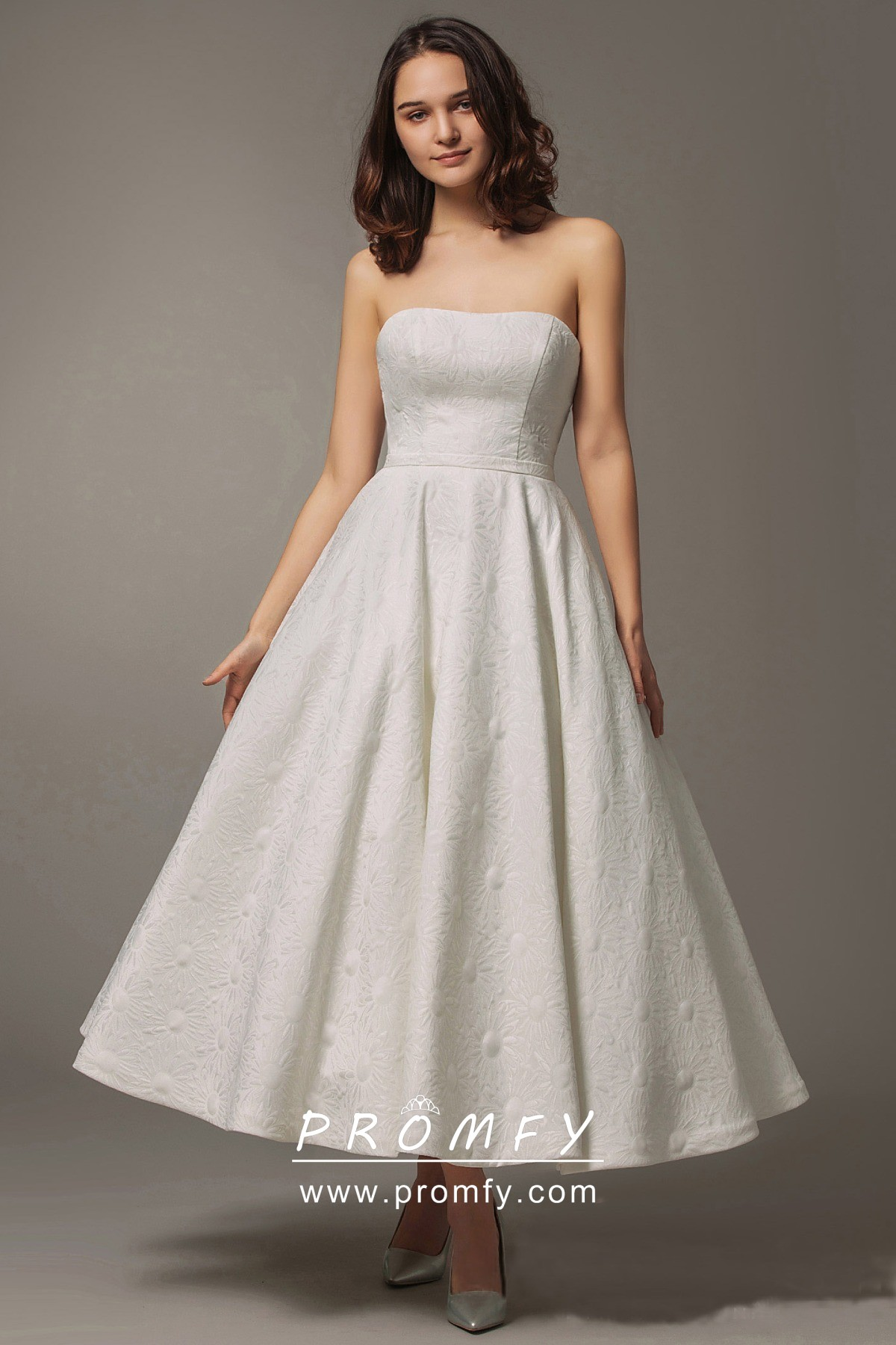 Simple Strapless Tea Length Puffy Wedding Dress With Pockets