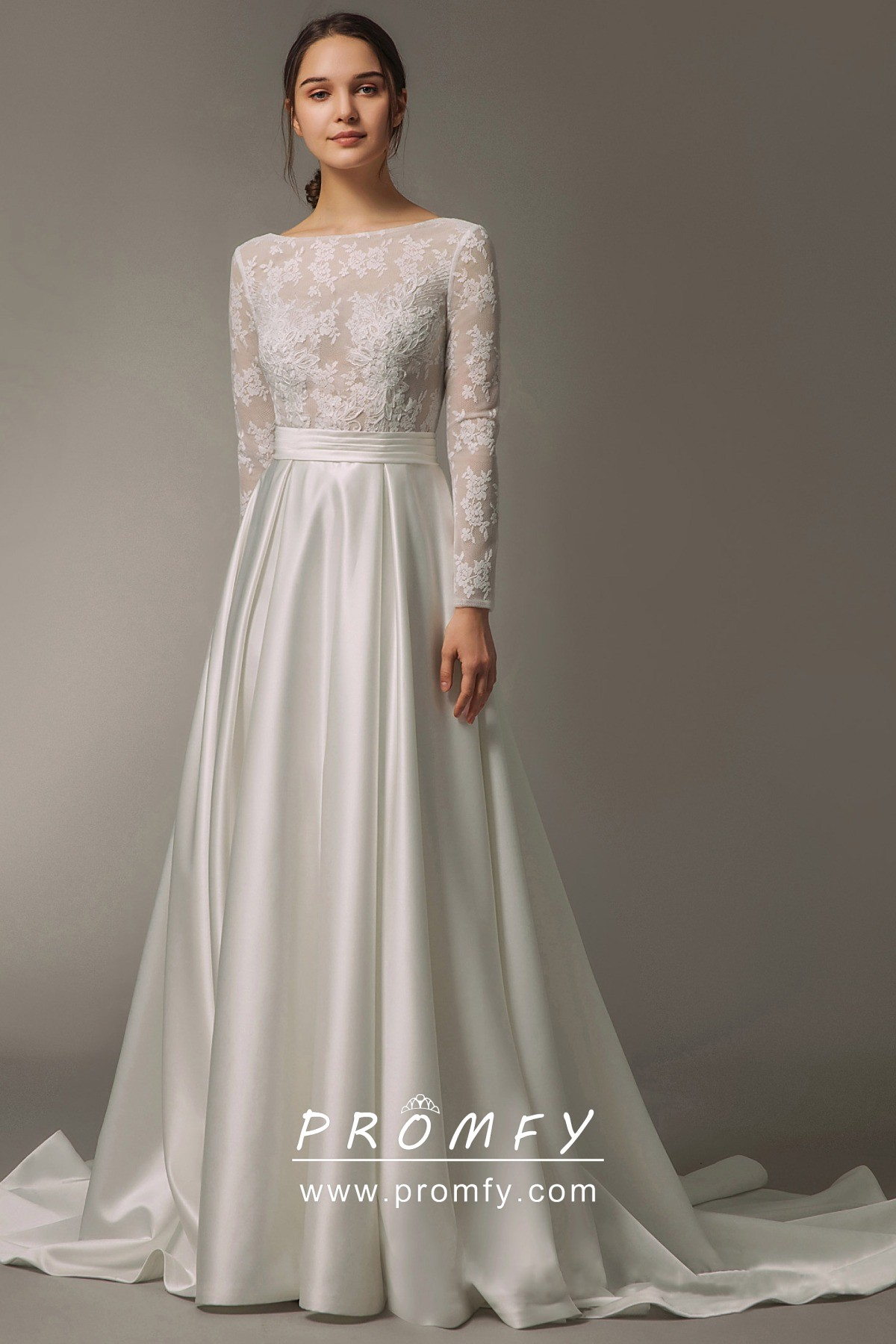 Modern See Through Lace Ivory Satin Wedding Dress
